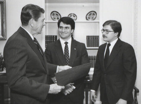 Ronald Reagan meeting with Jack Abramoff and Grover Norquist in connection with the College Republican National Committee.