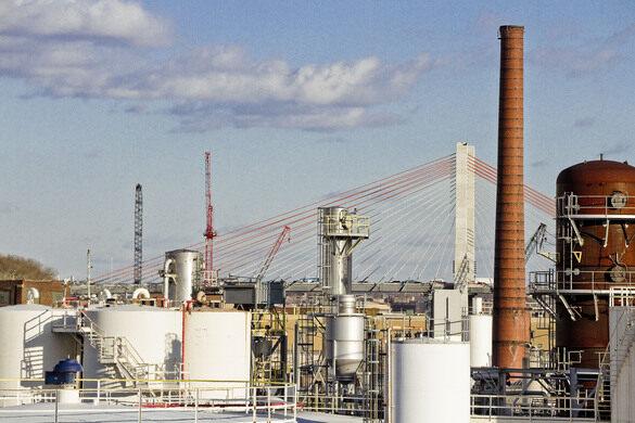 Kosciuszko Bridge and Oil Depots.