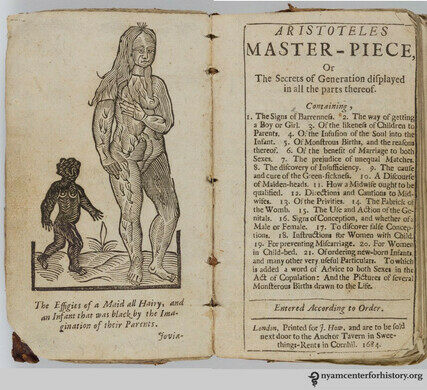 Aristotle's Masterpiece (a sex manual printed in the 17th-century using many medieval sources).