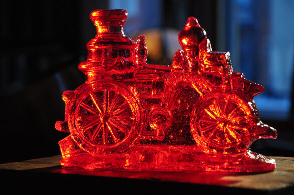 Small red locomotive clear toy candy.