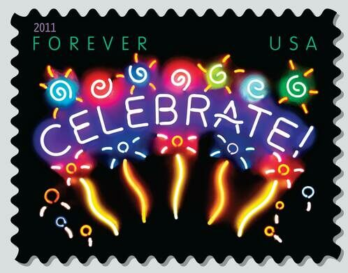 Neon Celebrate USPS Forever Stamp.