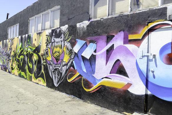 street art wraps the warehouse
