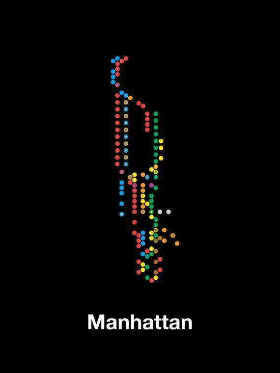 Nyc Subway Map 2017 Poster.Minimalist Manhattan Subway Map Poster Atlas Obscura