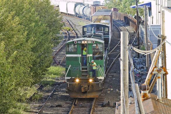 Freight rail yard.