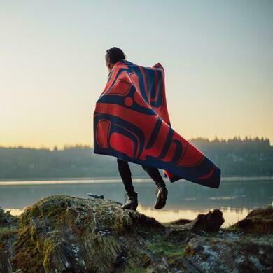 "The ""Confluence"" Wool Blanket by David Robert Boxley."