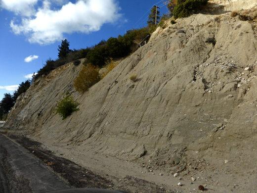 Sandy fault gouge.