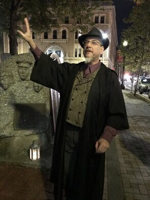 Mike giving the history of Bridgeport's Weeping Statue.