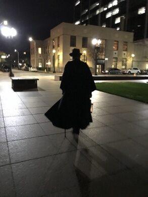 The Darkman Walks downtown Bridgeport.