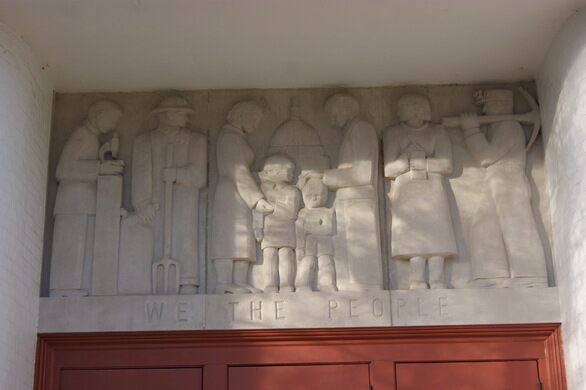 Frieze on the elementary school.