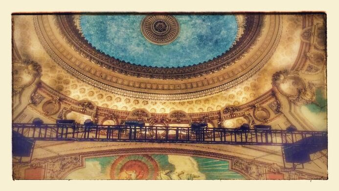 The magnificent ceiling of the Chicago Theatre.