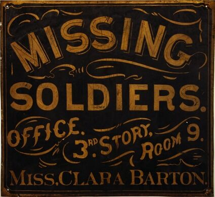 Clara Barton missing soldiers office sign.