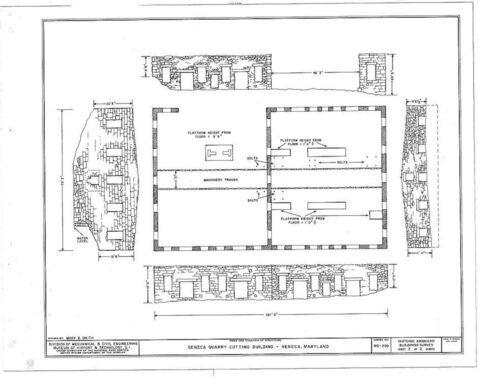 Plans for Seneca Quarry's Stone Cutting Building.