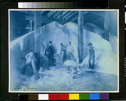 Men working in the salt mine, circa 1890s