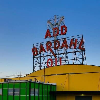 Bardahl sign and headquarters.