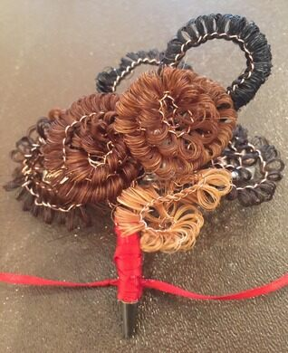 Samples of Victorian hair work.