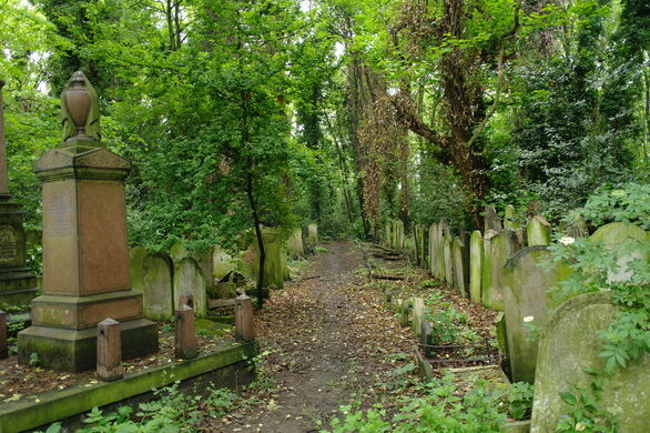 Lush greenery covers the graves of the cemetery.