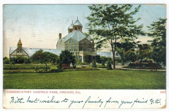 A 1907 postcard of the Conservatory's original building.