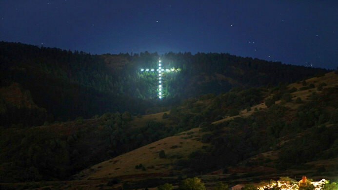 The cross from afar.