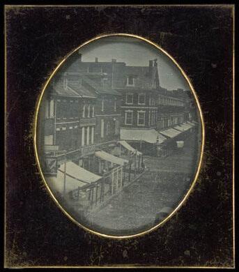 Daguerreotype of Philadelphia's Market Street, 1840.
