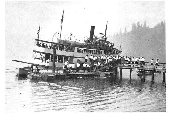 Virginia V loading for Camp Sealth.