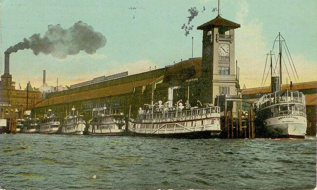 Steamboats at Colman Dock circa 1912.