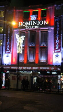 The facade of the Dominion Theatre in recent years, originally built in 1929 and now showing mostly musicals.