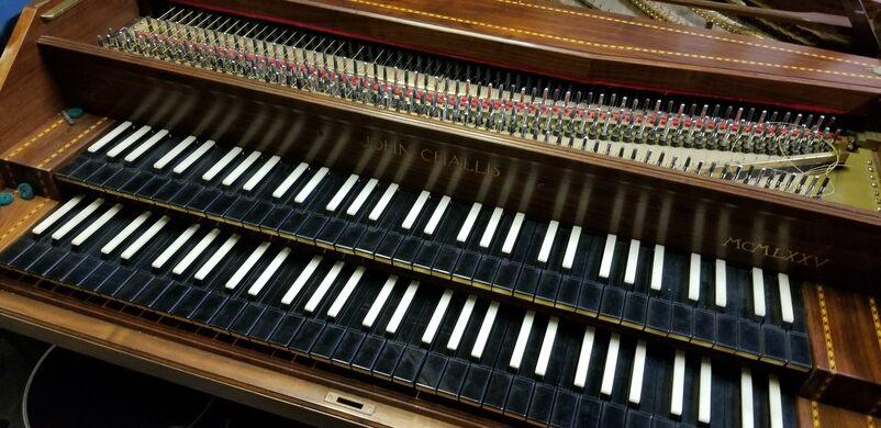 Double keyboard harpsichord.