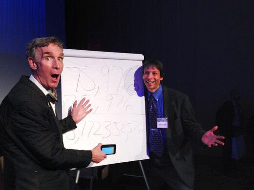 Arthur Benjamin with Bill Nye.