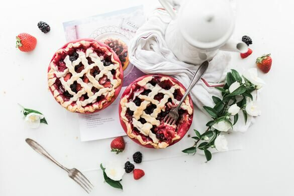 Cheery pies looking delicious.