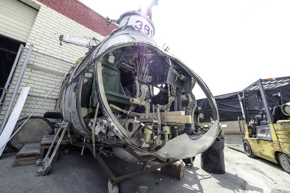 Partially deconstructed helicopter.