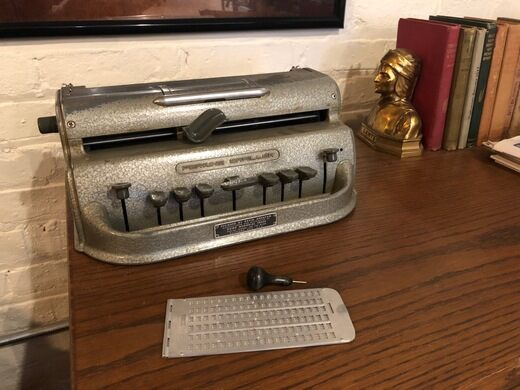 Matt Rizzo's Perkins Brailler typewriter.