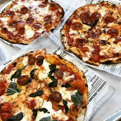 Pizzas served in the Whiner tap room, baked fresh by Pleasant House Bakery.