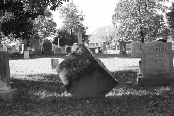 The cubed grave of Charles Fowler and Kenneth Dresser.