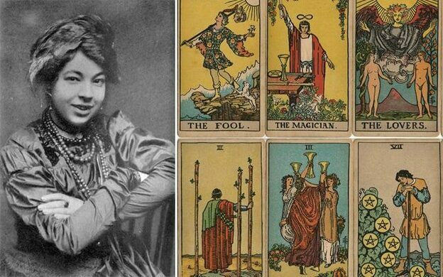 Pamela Colman Smith in the early 1910s and eight cards from a 1st edition Rider-Waite deck, originally published in 1909.