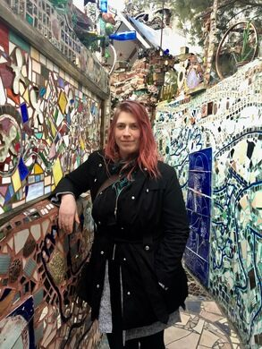 Alexandra Kurowski at Philadelphia's Magic Gardens.