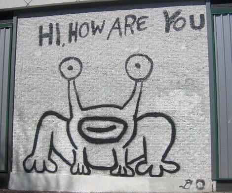 """Daniel Johston """"Hi, How Are You?"""" Mural."""