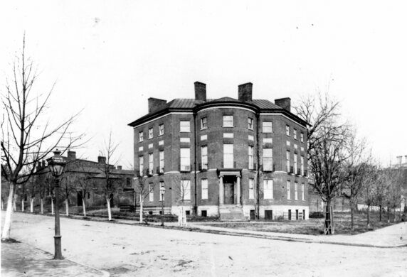 Historic photo of the Octagon House from the late 1880s.