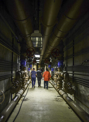Exploring the underground pipe galleys.
