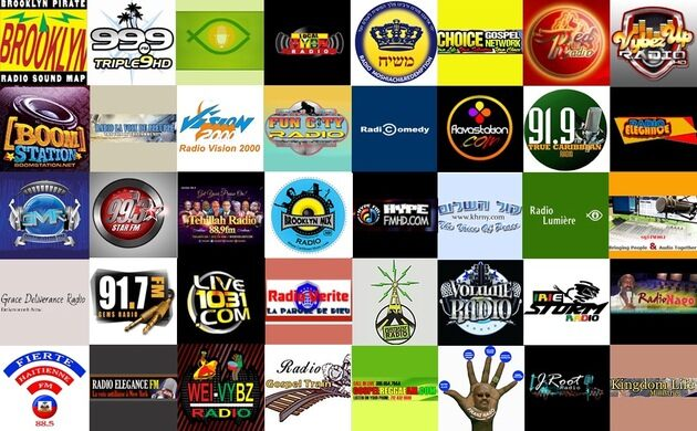 A collage of pirate radio stations.