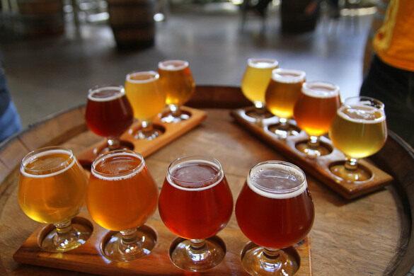 A flight of beers.
