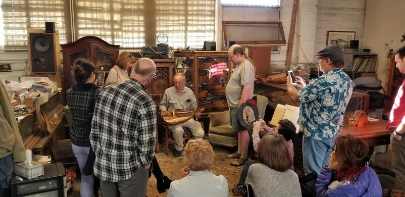 Curtis demonstrating the Hurdy Gurdy