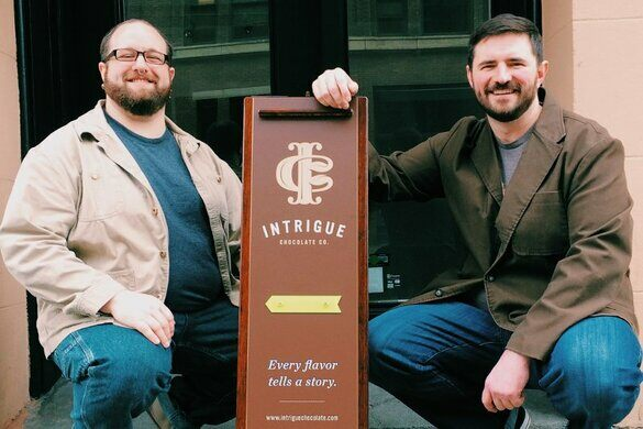 Intrigue Chocolate innovators Aaron Barthel and Karl Mueller.