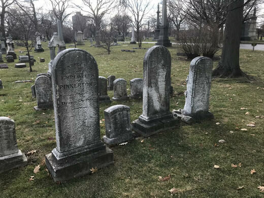 Graves of Pinkerton Detectives, including three of the first women to work as private eyes.
