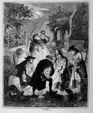 Resurrectionists in the process of digging up a fresh corpse.
