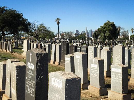 The headstones of Evergreen Cemetery.