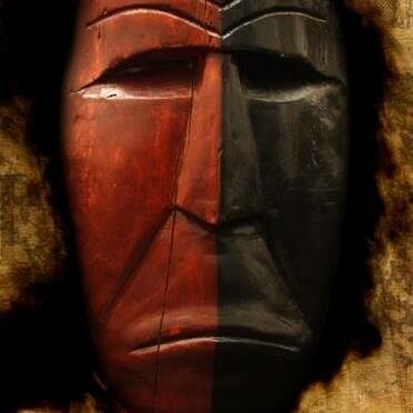 A Meesing Mask, showing the likeness of a prominent figure in Lenape mythology and used in the annual Lenape Meesing Ceremony.