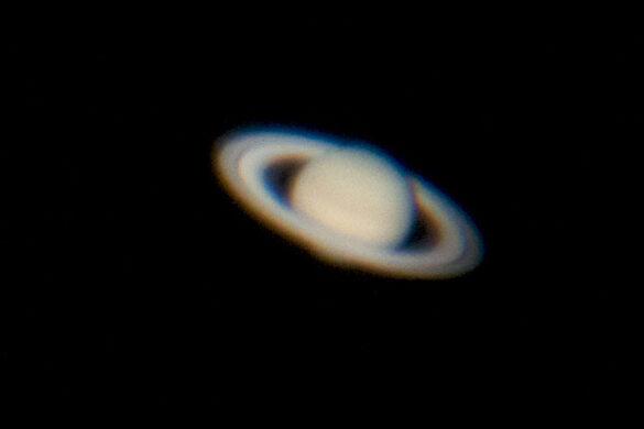 Saturn shot through the 60-inch telescope.