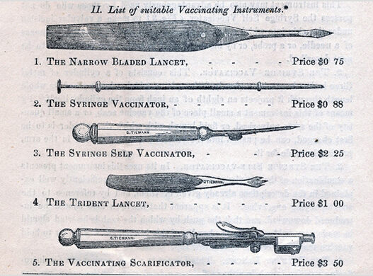 19th-century smallpox vaccination instruments.