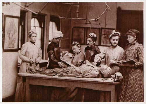 Women training to be doctors in a medical college, 1892.
