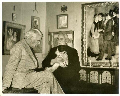 Albert C. Barnes with John Dewey in the Cret Gallery in Merion (1941).